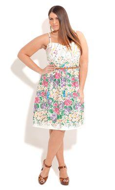 City Chic SPRING GARDEN DRESS- Women's Plus Size Fashion