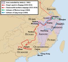 Taiping Rebellion and - some more details are on my World History board Modern World History, Asian History, China Map, China China, Taiping Rebellion, Semitic Languages, Dna Genealogy, Indian Language, Spring Racing