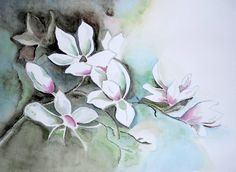 White Flowers, Floral, Neutral Tones,Modern Contemporary Magnolias, An Original Watercolor Painting. Size 12x16 Unframed.