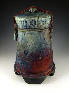 Handmade Stone Pillars Raku Style Cremation Urn for Ashes