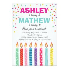 Shop Joint twin birthday party invitation Twins Dual created by Anietillustration. Combined Birthday Parties, Sibling Birthday Parties, Joint Birthday Parties, Twin Birthday, Birthday Bash, Birthday Ideas, Summer Birthday, Happy Birthday, Anniversary Invitations