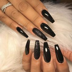 Cute Acrylic Nails Designs Ideas For You Cute Acrylic Nails Designs Ideas For You 21 Bold and Edgy Black Coffin Nails 40 Black Acrylic Nails Black Acrylic Nails, Black Coffin Nails, Cute Black Nails, Black Chrome Nails, Long Black Nails, Black Nails With Glitter, Black Acrylics, Prom Nails, Long Nails