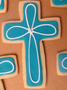Baby boy baptism cross cookies