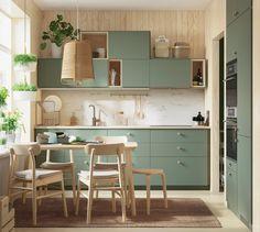 Kitchen Room Design, Home Decor Kitchen, Interior Design Kitchen, Home Kitchens, Ikea Kitchens, Ikea Kitchen Remodel, Green Interior Design, Green Kitchen, Kitchen Sets