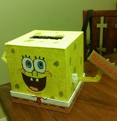 Sponge Bob Valentine Box For My Kindergarten Son. Just Need To Add His Legs  And