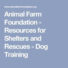 Animal Farm Foundation - Resources for Shelters and Rescues - Dog Training
