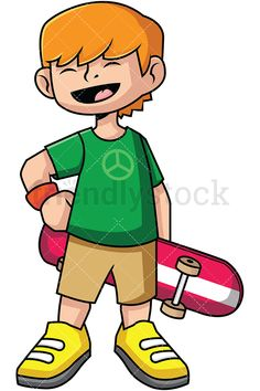 Teen Skateboarder: Royalty-free stock vector illustration of a smiling boy wearing a t-shirt with the peace sign on it and holding a skateboard. #friendlystock #clipart #cartoon #vector #stockimage #art #skateboarding #fun #skateboard #skating #skater #boy #kid