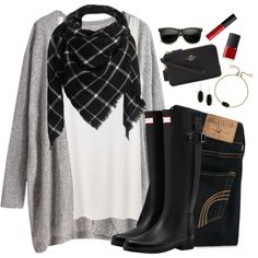 Black, gray, & a touch of red by steffiestaffie on Polyvore featuring polyvore, fashion, style, The Row, Hollister Co., Hunter, Coach, Kendra Scott, ZeroUV and NYX