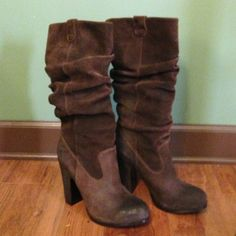 """Brown Suede Boots These show stoppers are a great quality soft suede. They are brown in color and fit well with tights, bare legs, dresses or slim pants. The heel height is 4.25 with a 3/4"""" platform which makes them quite comfortable to walk in. I wore these one time for going out to dinner so they are in practically brand new condition. No signs of wear. No trades.  PRICE DROP 8/30/2015 30% SAVINGS! DMSX Shoes"""