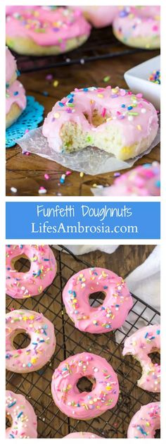 These Baked Funfetti Doughnuts are light, fluffy, crammed with sprinkles, and covered in a pretty pink glaze (and more sprinkles!) from @sugarspunrun