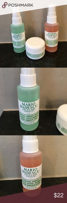 MARIO BADESCU SKINCARE FACIAL SPRAYS & MASK NEW ALL BRAND NEW TRAVEL SIZE ! AMAZING SMELLING YUMMY FACIAL SPRAYS (2) 2 FL.OZ. Each ( I HAVE THE BIG BOTTLES OF THE FACIAL SPRAYS FOR MYSELF, LOVE THEM )  AND 1- ENZYME REVITALIZING MASK 0.5 oz. 💄PRICE FIRM UNLESS BUNDLED 💄NO OFFERS ON BUNDLES PLEASE . TAKE A LOOK AT ALL MY OTHER BEAUTY ITEMS TO BUNDLE AND SAVE ! I HAVE MANY !!!!! LET ME KNOW IF YOU HAVE ANY QUESTIONS . Sephora Makeup