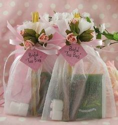 Bridal Shower Tea Bag Favors: white organza bag tied with satin ribbon and pink roses. Inside are 2 herbal tea blends, 2 lemon-infused honey sticks, 2 cinnamon sticks and 2 rose-topped sugar cubes. Tea Bag Favors, Tea Party Favors, Wedding Party Favors, Diy Wedding, Trendy Wedding, Wedding Ideas, Wedding Gifts, Tea Party Decorations, Diy Decoration