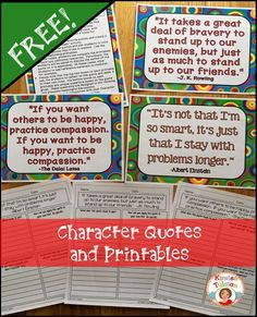 Do you want to provide your students with a new way to think about character traits and character education?  These FREE Character Quotes and corresponding printables dive into character traits with relevant character ed. quotes, discussion questions, and reflections.  Teach your students to make new, meaningful connections to their own lives!
