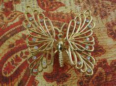 Vintage Gold Tone Trembler Rhinestone Butterfly by EntirelyApropos, $12.00