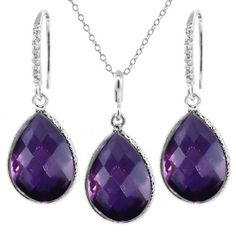 "19.50 Ct Faceted Amethyst Pear Shape Silver Pendant and Earrings Set 18"" Chain available at joyfulcrown.com"