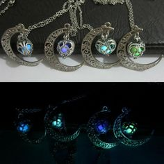 Fashion Glow in the Dark Moon Hollow Heart Locket Pendant Chain Necklace Gift #Unbranded #Charm