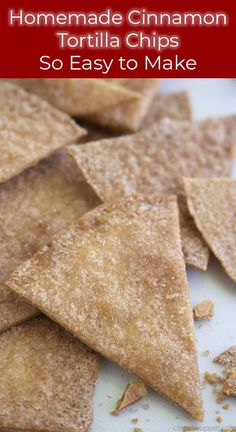 Homemade Cinnamon Tortilla Chips are the perfect crispy treat to satisfy those churro cravings! These easy homemade cinnamon chips cookquickly. Cinnamon Sugar Tortillas, Cinnamon Tortilla Chips, Cinnamon Chips, Cinnamon Crispies Recipe, Best Tortilla Chips, Mexican Food Recipes, Snack Recipes, Dessert Recipes, Mexican Dishes