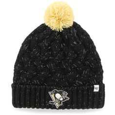 '47 Brand Pittsburgh Penguins Fiona Knit Beanie ($28) ❤ liked on Polyvore featuring accessories, hats, png black, knit hat, knit beanie, beanie cap hat, knit cap beanie and knit beanie hats