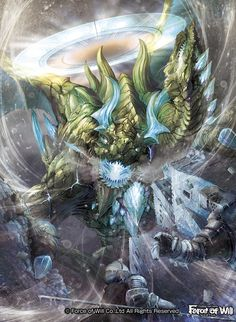trading card game Force of Will 「Curse of the Frozen Casket 」 【Ice Dragon of Altea】 Pokemon Rayquaza, Legendary Dragons, Ice Dragon, Fantasy Beasts, High Fantasy, Fantasy Castle, Fantasy Dragon, Cool Landscapes, Fantastic Art