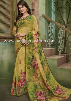 Georgette Saree Party Wear, Georgette Sarees, Party Wear Sarees, Saree Trends, Stylish Sarees, Fancy Sarees, Yellow Fabric, Jodhpur, Ready To Wear