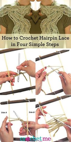 This free crochet tutorial shows you how to make hairpin lace the easiest way available.