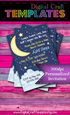 Personalized Printable Invitations | Twinkle Twinkle Little Star| Birth Announcement | Baby Shower |  #128