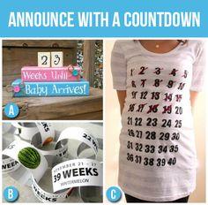 50 Creative Pregnancy Announcements (lovin' these pregnancy countdown ideas!!)