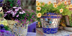 pots de fleurs agrémentés de mosaïque multicolore