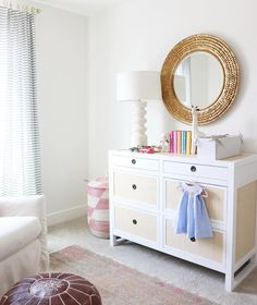 Baby girl's nursery by Studio McGee - RH wingback glider in Belgian Linen Natural Baby Girl Nursery Themes, Nursery Ideas, Girl Nurseries, Bedroom Ideas, Interior Design Videos, Big Girl Rooms, Kids Rooms, Youth Rooms, Nursery Modern