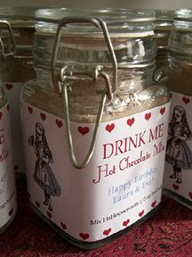 """Hot chocolate mix favour. Also would be cute to do cook in a jar """"eat me"""" favour."""