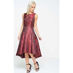 93f986acf4a9 Marc Angelo Tasha Jacquard Dipped Hem Dress in Burgandy (£75) ❤ liked on