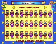 New SmartBoard Attendance Theme – Super Hero Kids...Also Revamp to Welcome Board