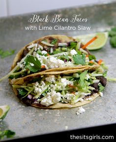 Black bean tacos with lime cilantro slaw is the perfect healthy dinner recipe to spice up your menu. They are easy to make and affordable, too!