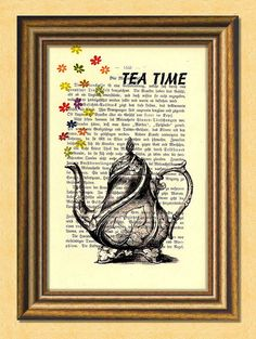 TEA TIME - Dictionary art print - Wall Decoration - Antique Book Page upcycled - Art Print Dictiona - Fab art - Dictionary Art, Antique Books, Antique Art, Book Pages, All Print, Vintage Art, Tea Time, Wall Art Prints, The Book