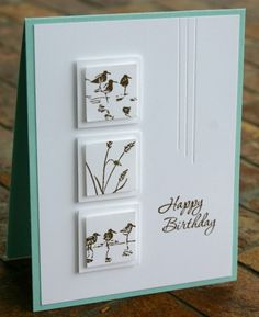 handmade birthday card ... luv the double raised inchies and mats in white ... Wetlands birds and grass in different spots ... delightful card!! ... Stampin' Up!