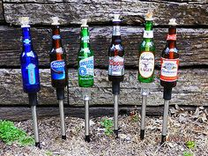 Set of 6 Yard stakes-- for Beer Bottle Tiki Torches Beer Bottles stakes WICKS