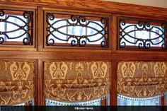 Kitchen valances relaxed roman shades Tableaux transom windows paisley fabric faux wrought iron
