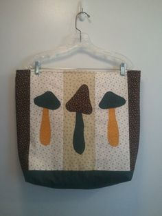 Mushroom Tote. Ready for Fall Large appliqued by RagTagsOriginals, $34.99