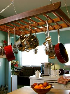 How to Build a Hanging Pot RackIt's an old solution, but it can be an elegant one that also saves storage space. This pot rack can be built in an afternoon with simple construction and components.