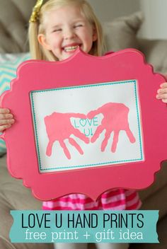 LOVE U Hand Prints printable - perfect gift for Valentine's Day!