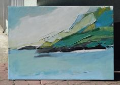 "Oil painting, canvas art, stretched, ""Landscape 59"". Size 39.4/ 27,6 inches (100/70cm) - In-context view (studio)"