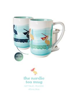 Pelicans colour changing nordic mug. When add hot water to this mug, the pelicans change colour and cute objects appear. Davids Tea, Herbal Tea, Tea Recipes, Tea Mugs, Color Change, Tea Time, Addiction, Cups, Objects