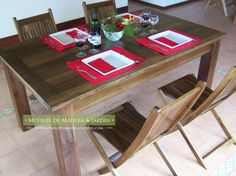 Mesa Chica para Comedor Dining Table, Rustic, Furniture, Home Decor, Dining Chairs, Table And Chairs, Timber Furniture, Solid Wood, Dining Rooms