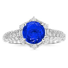 2.05 Carat Vintage/Antique Baguette and Round Halo Hexagon Diamond Engagement Ring 14K Gold with a 1.5 Carat Round Cut AAA Quality Blue Sapphire (Heirloom Quality)