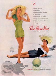 96246e47de2 Chic, beautiful Rose Marie Reid beachwear from 1952. Ilustraciones Vintage,  Publicidad, Anuncios