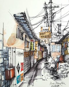 Urban Sketchers: sketch_forum (get_repost) watercolor and marker coloring # # # # Architecture Drawing Sketchbooks, Watercolor Architecture, Landscape Architecture, Sketch Architecture, Landscape Sketch, Urban Landscape, Watercolor Landscape, Watercolor Trees, Landscape Art