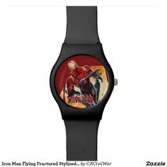 Iron Man Flying Fractured Stylized Graphic Wrist Watches. Regalos, Gifts. #reloj #watch