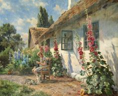 Peder Mørk Mønsted (1859-1941): Summer day in the garden with a girl knitting, 1934