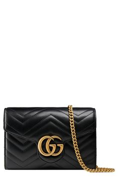 ae37aa655d77 Gucci GG Marmont Matelassé Leather Wallet on a Chain