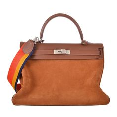 HERMES KELLY BAG 35CM LIMITED EDITION GRIZZLY SUEDE WITH RAINBOW STRAP JaneFinds | From a collection of rare vintage top handle bags at https://www.1stdibs.com/fashion/handbags-purses-bags/top-handle-bags.......